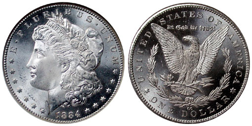 Obverse and reverse off Morgan Silver Dollar