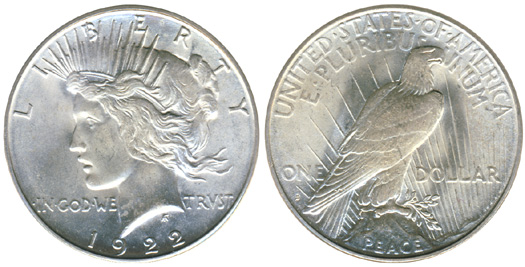 Obverse and reverse of Silver Peace Dollar
