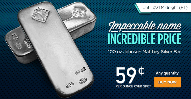 100 oz Johnson Matthey Silver Bars