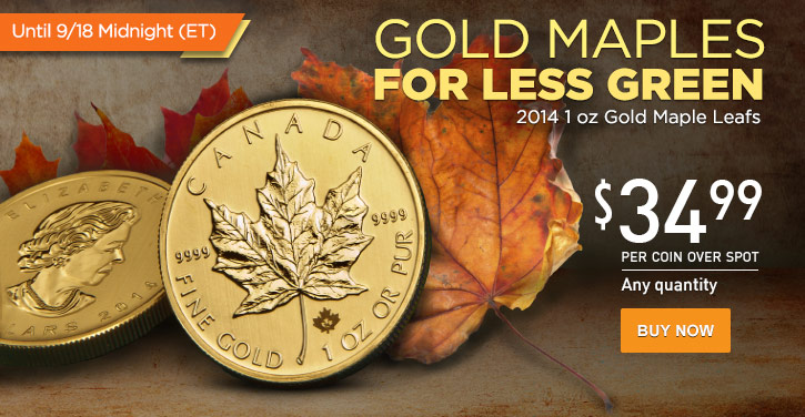 2014 1 oz Gold Maple Leafs