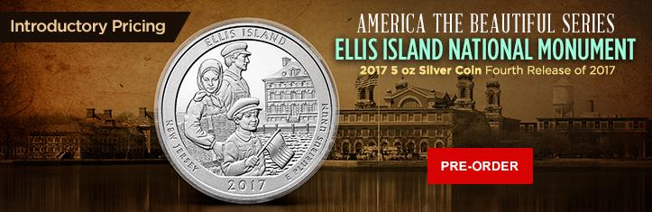 2017 5 oz Silver ATB Ellis Island