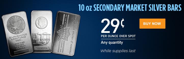 10 oz Secondary Market Silver Bars