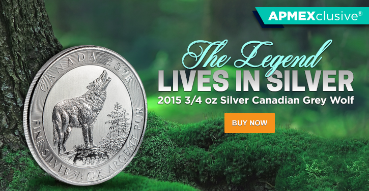 2015 3/4 oz Silver Canadian Grey Wolf