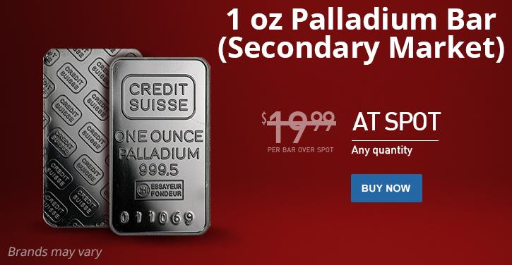 1 oz Secondary Market Palladium Bars