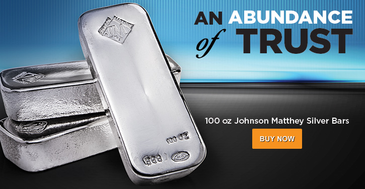 100 oz JM Silver Bars