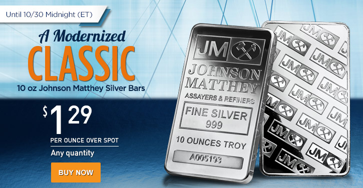 10 oz Johnson Matthey Silver Bars