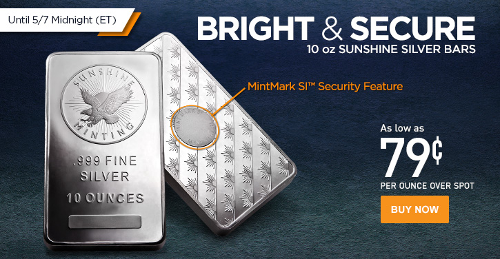10 oz Sunshine Silver Bars