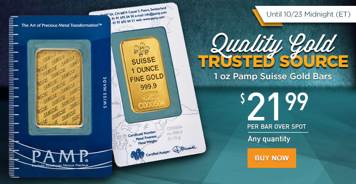 1 oz Pamp Suisse Gold Bars - New Design