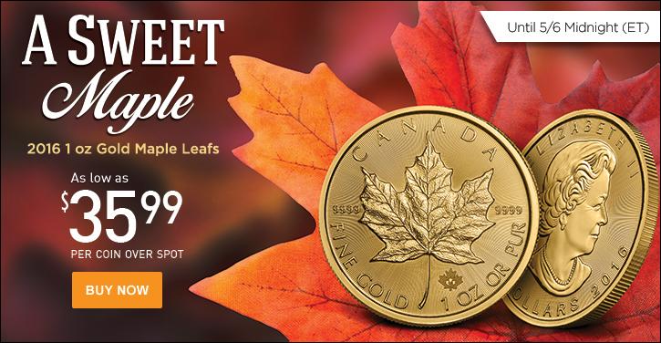 2016 1 oz Gold Maple Leafs