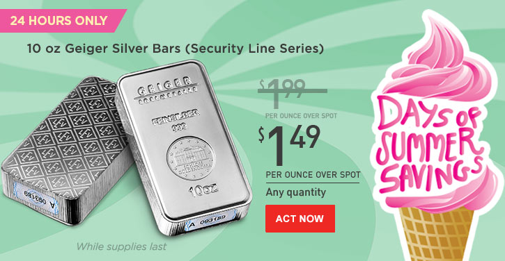 Daily Deal - 10 oz Geiger Silver Bars