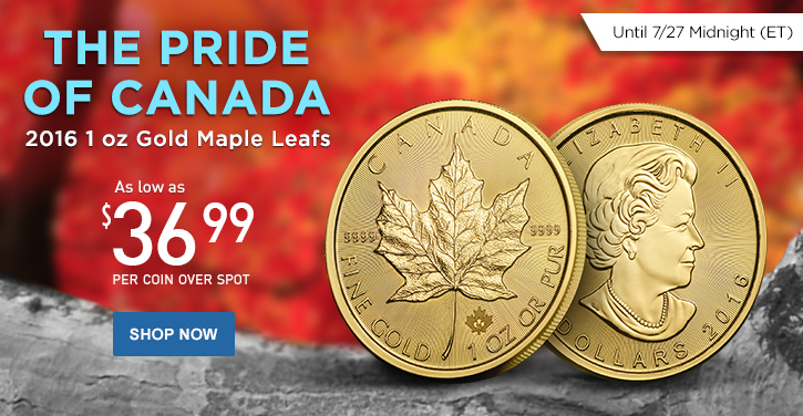 2016 1 oz Gold Maple Leafs
