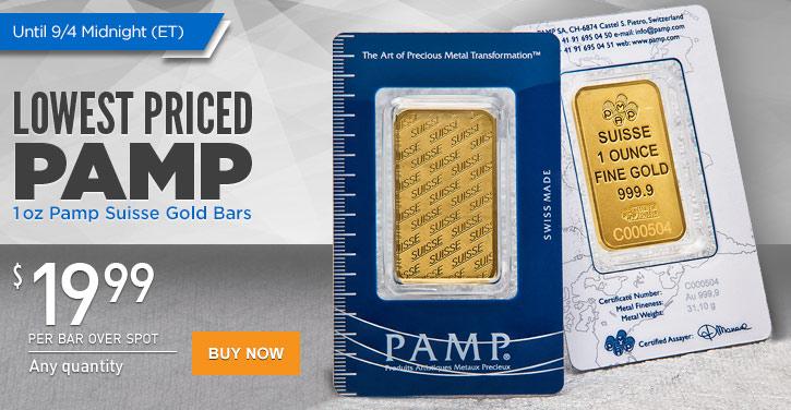 1 oz Pamp Suisse Gold Bars New Design