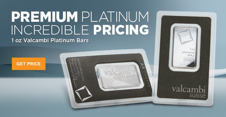 1 oz Valcambi Platinum Bars