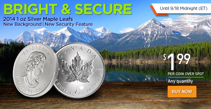 2014 1 oz Silver Maple Leafs