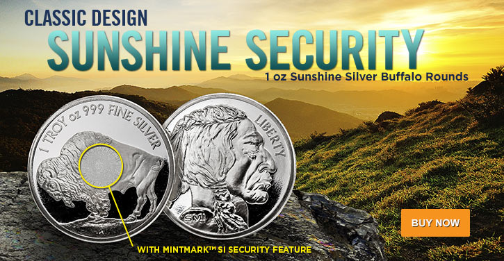 1 oz Sunshine Silver Buffalo Rounds
