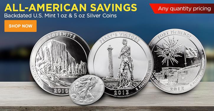 U.S. Mint Backdated Silver 1 oz & 5 oz Coins