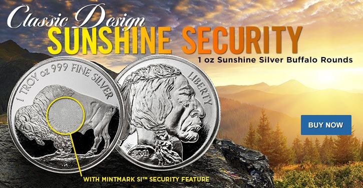 1 oz Sunshine Buffalo Silver Rounds V2