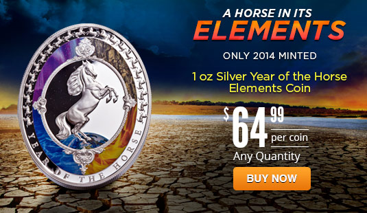 2014 1 oz Silver Year of the Horse Oval Shaped Elements Proof Coin