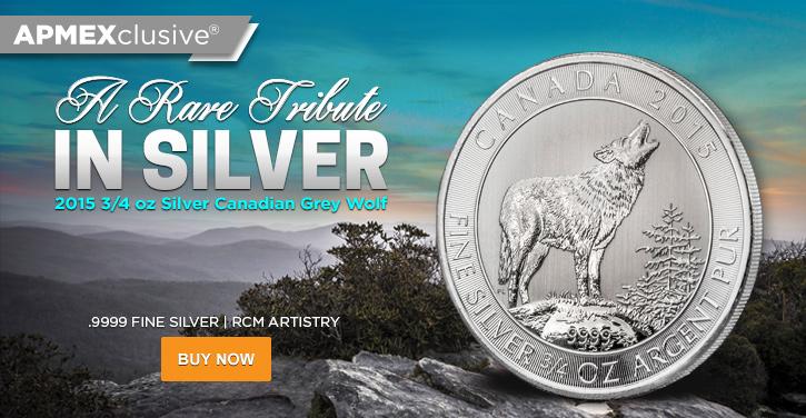 2015 3/4 oz Silver Grey Wolf