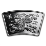 2000 Dragon Fan Shaped 1 oz Silver (W/Box & Coa)