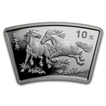 2002 Horse Fan Shaped 1 oz Silver (w/Box & CoA)
