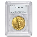 1913-D $20 St. Gaudens Gold Double Eagle - MS-63 PCGS