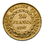 French Gold 20 Franc (Lucky Angel Design) AGW .1867