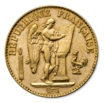 Gold French 20 Franc Lucky Angel AGW .1867