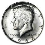 $10 1964 Kennedy Half-Dollars - 90% Silver 20-Coin Roll (BU)