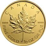 1/2 oz Gold Canadian Maple Leaf - Random Year