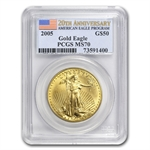 2005 1 oz Gold American Eagle MS-70 PCGS (20th Ann)