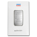 1 oz Credit Suisse Palladium Bar (In Assay) .9995 Fine