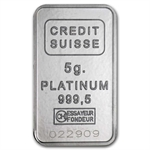 5 gram Credit Suisse Platinum Bar (in Assay) .999+ Fine
