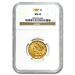 $5 Liberty Gold Half Eagle - MS-63 NGC