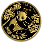 1992 (1/4 oz) Gold Chinese Pandas - Small Date (Sealed)