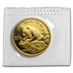 1999 (1/2 oz) Gold Chinese Pandas - (Sealed) - Small Date