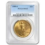 1909-S $20 St. Gaudens Gold Double Eagle - MS-63 PCGS