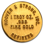 1 oz By Hoover & Strong Gold Button .999 Fine