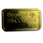100 gram Degussa Gold Bar .9999 Fine (Pressed)