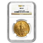 $20 Saint-Gaudens Gold Double Eagle - MS-63 NGC