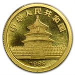1989 (1/20 oz) Gold Chinese Pandas - Small Date (Sealed)