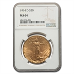 1914-D $20 St. Gaudens Gold Double Eagle - MS-64 NGC