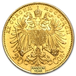 Austria 1892-1912 20 Corona Gold Coin (Almost Uncirculated)