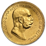 Austria 1908 10 Corona Gold Coin (Almost Uncirculated)