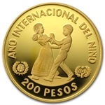 Dominican Republic 1982 200 Pesos Gold Proof Children
