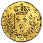 France 1814-1815 Gold 20 Francs (EF) Louis XVIII