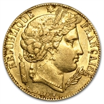 France 1850-51 Gold 20 Francs Ceres Head - AGW .1867