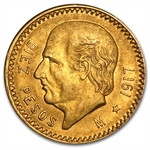 Mexico 1917 10 Pesos Gold Coin - Almost Uncirculated