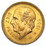 Mexico 1959 10 Pesos Gold Coin - Brilliant Uncirculated
