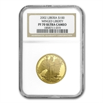 Liberia 2002 1 oz Gold Coin Proof -70 Ultra Cameo NGC